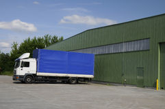 Blue lorry. With white cabin Stock Photos
