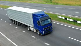 Blue lorry with grey trailer (upper view) Royalty Free Stock Photography
