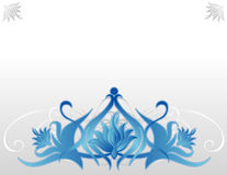 Blue Lotus. Abstract illustration of a blue lotus over a decorative gray shapes and a light gray background Royalty Free Stock Photography