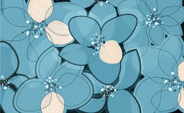 Blue lotus flower petals on art background. Outline vector creative pattern Royalty Free Stock Photo