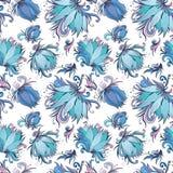Blue Lotus Vector Pattern Stock Photo
