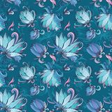 Blue Lotus Vector Pattern Stock Photography