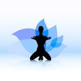 Blue lotus yoga Royalty Free Stock Image