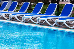 Blue lounge chairs Royalty Free Stock Photos