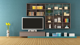 Blue lounge with wall unit - 3D Rendering Stock Photo