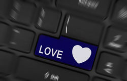 Blue love and heart button Royalty Free Stock Images