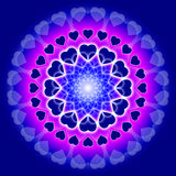 Blue Love Mandala - Circle of hearts. Mandala with hearts on blue background vector illustration