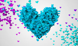 Blue Love Particles Heart Shape 3D Stock Image