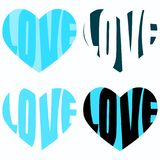 Blue Love word Inside Heart. Valentines Day love words inside hearts. Set of four different blue hearts Royalty Free Stock Photography
