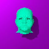 Blue low-poly head illustration. Low poly head illustration, 3d colorful rendered object Stock Image