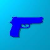 Blue low-poly pistol illustration stock image