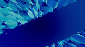 Blue low poly plastic surface as geometric grid. Blue polygonal geometric plastic environment or pulsating background in stock video footage