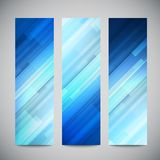 Blue low poly vector vertical banners set with Stock Image