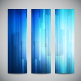 Blue low poly vector vertical banners set with Royalty Free Stock Image