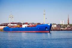 Blue LPG gas carrier. Industrial cargo ship Stock Photography
