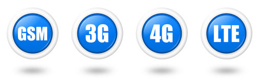 Blue LTE, 4G, 3G and GSM telecommunication icon se. T with white border and shadow Stock Photos