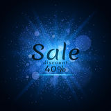 Blue luminous dust on a black background. Sale of 40 percent. Cover sale. Vector illustration. EPS 10 stock illustration