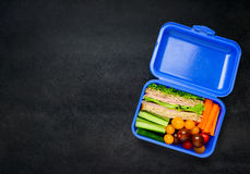 Blue Lunch Box with Food and Copy Space. Copy Space text Area with Sandwich, Carrots and Tomatoes in Top View Stock Photos