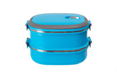 Blue lunch box isolated Stock Image