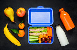 Blue Lunch Box with Vegetables and Fruits Stock Photography