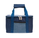 Blue lunch pack carrier hanging up with path Stock Photo