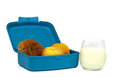 Blue lunchbox Stock Images