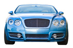 Blue Luxury Car. A blue, isolated foreign luxury car with wide tires stock image