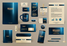 Blue luxury corporate identity template. Blue luxury branding design kit for hotel. Premium corporate identity template. Business stationery mock-up and Royalty Free Stock Photos