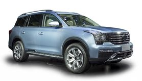 Blue Luxury SUV. Blue Luxury off-road vehicle isolated with shadow on white Stock Images