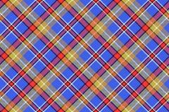 Blue madras diagonal plaid pixeled seamless background Stock Images