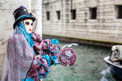 Blue and magenta carnaval costume Royalty Free Stock Photos