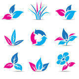 Blue and Magenta Leaves  on white Stock Photos