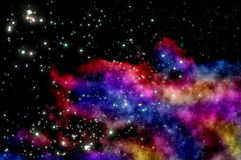 Blue and magenta nebula. Stars shine through the clouds of a new nebula Royalty Free Stock Photos