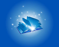 Blue Magic Book Backround. Blue Magic Book  and Sparkles Backround Stock Images