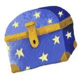 Blue Magic chest. Acrylic illustration of Blue Magic chest Stock Photo