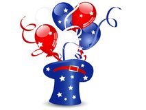 American hat. Blue magic hat with balloons and stars vector illustration