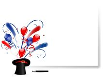 American hat. Blue magic hat with balloons and stars stock illustration