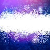 Blue magic sky with snow tape. Vector blue night background with snowflakes. Abstract winter illustration. Holidays banner design for Xmas and New Year Royalty Free Stock Image