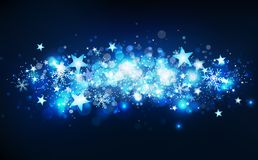 Blue magical shooting stars motion, winter season, stars falling confetti, snowflakes and dust, glowing particles blurry cluster vector illustration