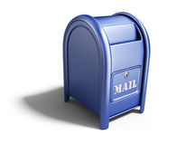 Blue mail box. 3D Icon. On white background Royalty Free Stock Image