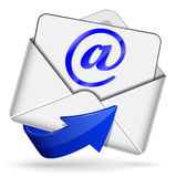 Blue mail icon with arrow Stock Photos