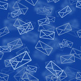 Blue mail seamless pattern Stock Images