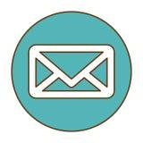 Blue mail symbol button icon Stock Photos