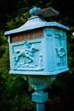Blue mailbox. In a tiny French village, this mailbox has stood here for ages Stock Photos