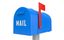 Blue mailbox with red flag up isolated Stock Images