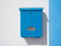 Blue mailbox on the wall Royalty Free Stock Images
