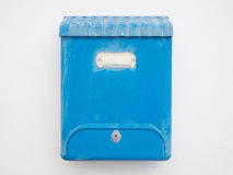 Blue mailbox on the wall Royalty Free Stock Photos