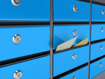 Blue mailboxes Royalty Free Stock Photo
