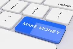 Blue Make Money Key on White PC Keyboard. 3d Rendering. Blue Make Money Key on White PC Keyboard extreme closeup. 3d Rendering stock illustration