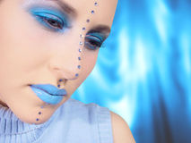 Blue Make-up. Woman with blue make-up Stock Image